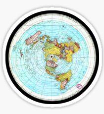 Pegatina Mapa de Tierra plana - (Mapa de proyección equidistante azimutal)