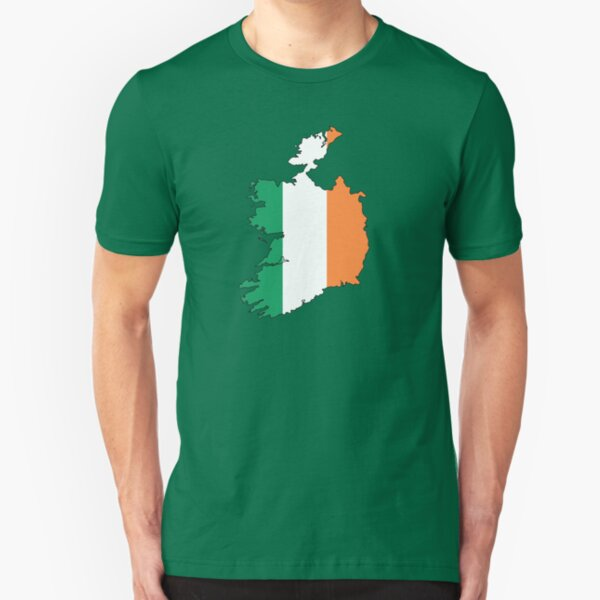 Ireland Country Outline and Flag Slim Fit T-Shirt