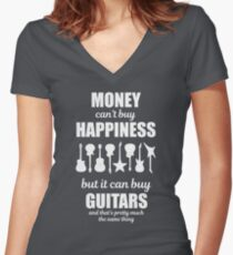 Money Can't Buy Happiness Guitars T-Shirt Women's Fitted V-Neck T-Shirt