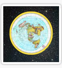 Flat Earth Map - (Azimuthal Equidistant Projection Map) - Beautiful Stars Sticker