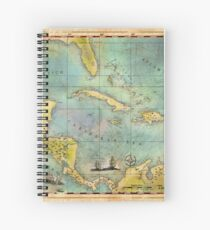 Caribbean Pirate + Treasure Map 1660 Spiral Notebook