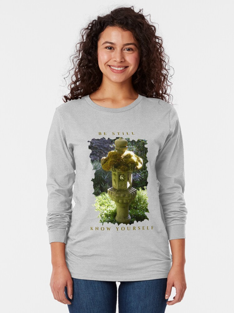 Alternate view of HEALING PEACEFUL MEDITATION KEEP STILL AND KNOW YOURSELF Long Sleeve T-Shirt