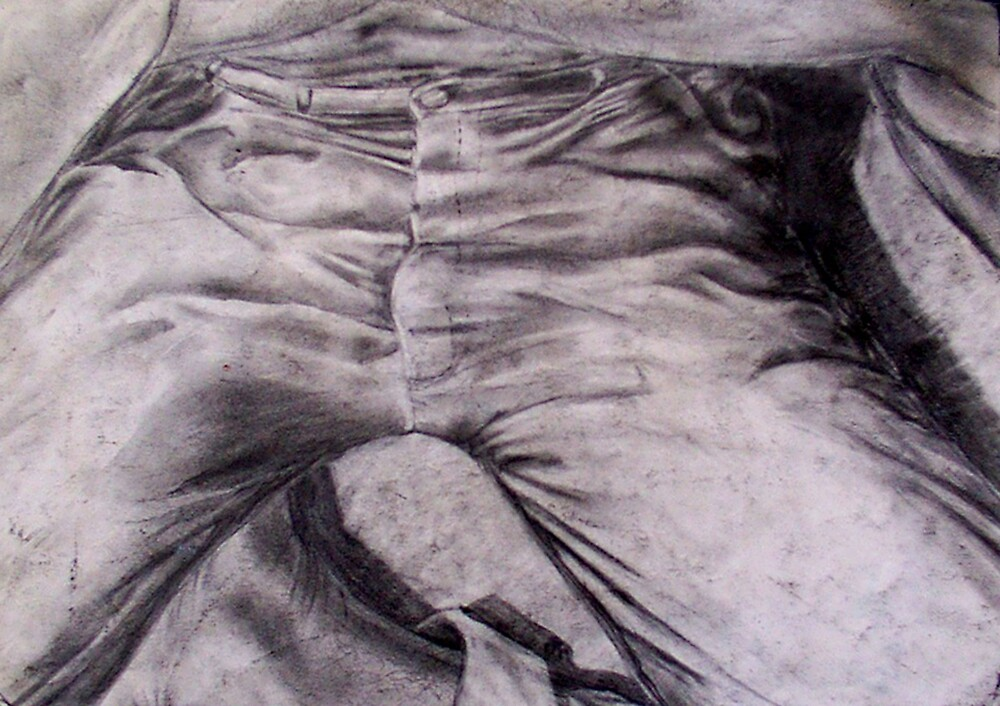 looking at my jeans with one eye closed by Paul Douglas Robertson