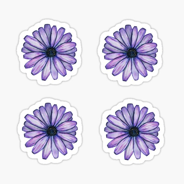 purple daisy sticker 4 pack Sticker