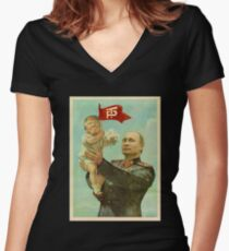 BABY TRUMP WITH PUTIN Women's Fitted V-Neck T-Shirt