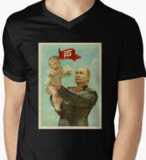 BABY TRUMP WITH PUTIN Men's V-Neck T-Shirt