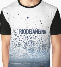 Guanabara Bay Paint Splatter with Rio Logo Graphic T-Shirt