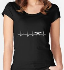 Drone Pilot Heartbeat Women's Fitted Scoop T-Shirt