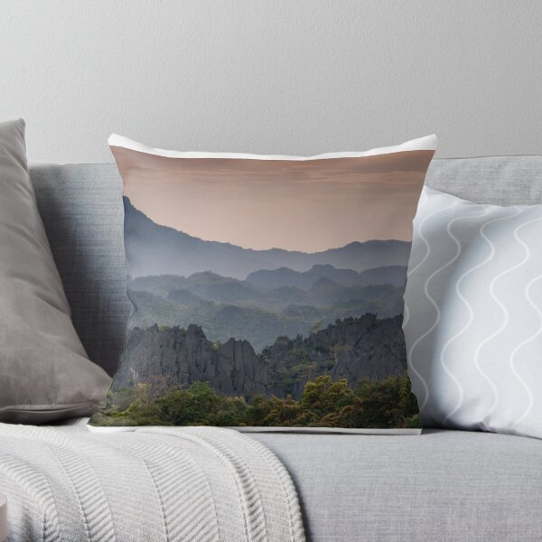 End of the day in Khammouane, Laos Throw Pillow