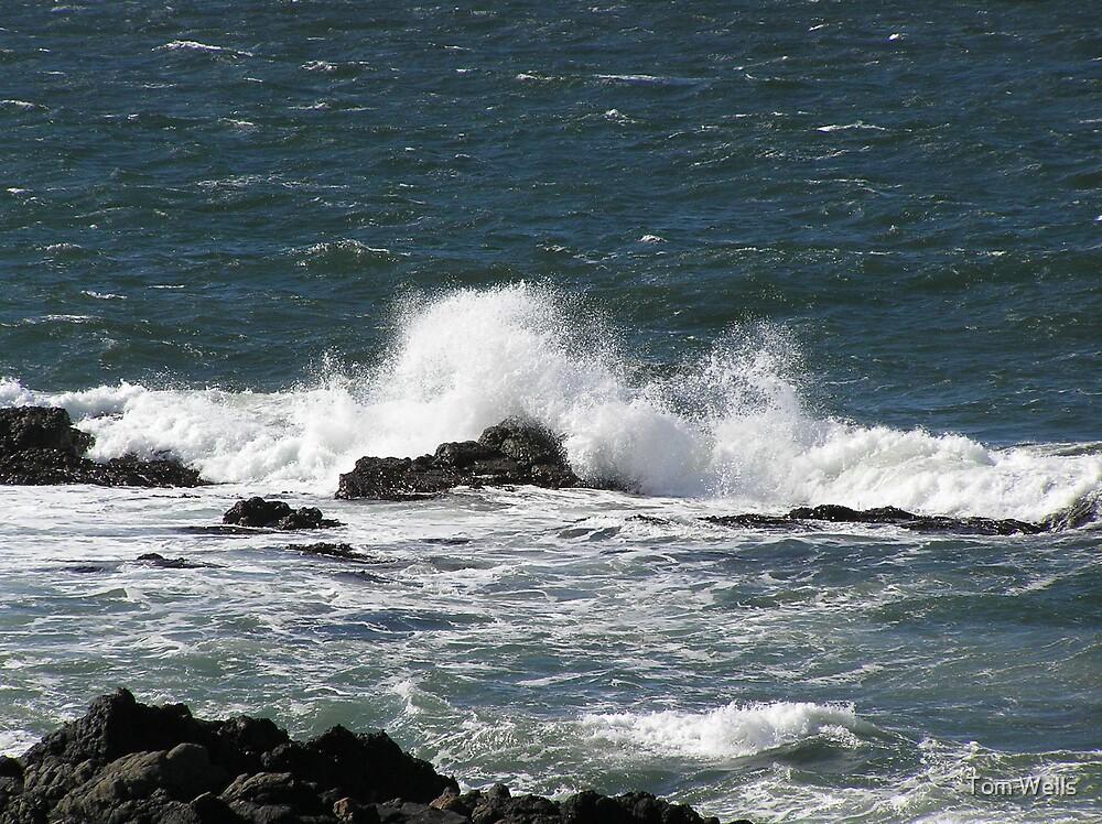 Waves Crashing Over Rocks by Tom Wells