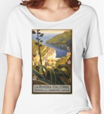 Vintage Italian Travel Poster - The Italian Riviera (1920) Women's Relaxed Fit T-Shirt