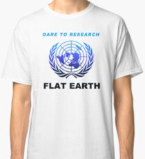 Dare to Research Flat Earth - Duotone Blue Black Azimuthal Map Projection UN Logo Classic T-Shirt