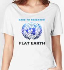 Dare to Research Flat Earth - Duotone Blue Black Azimuthal Map Projection UN Logo Women's Relaxed Fit T-Shirt