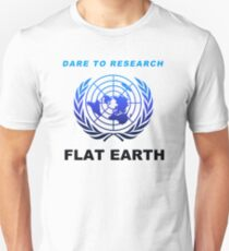 Dare to Research Flat Earth - Duotone Blue Black Azimuthal Map Projection UN Logo T-Shirt