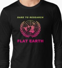 Dare to Research Flat Earth - Flat Earth Theory Map Logo Classic Double Hot Pink Style T-Shirt