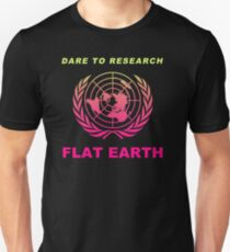 Dare to Research Flat Earth - Flat Earth Theory Map Logo Classic Double Hot Pink Style Unisex T-Shirt