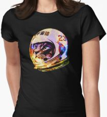 Astronaut Space Cat (deep galaxy version) Womens Fitted T-Shirt