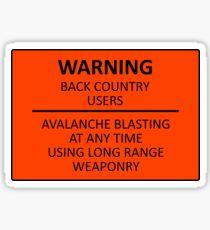 Avalanche Blasting Warning Sign Sticker