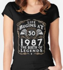 Life Begins At 30 1987 The Birth Of Legends Women's Fitted Scoop T-Shirt