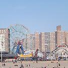 Amusement Park Ride, Beach, Coney Island, Brooklyn, New York City by lenspiro