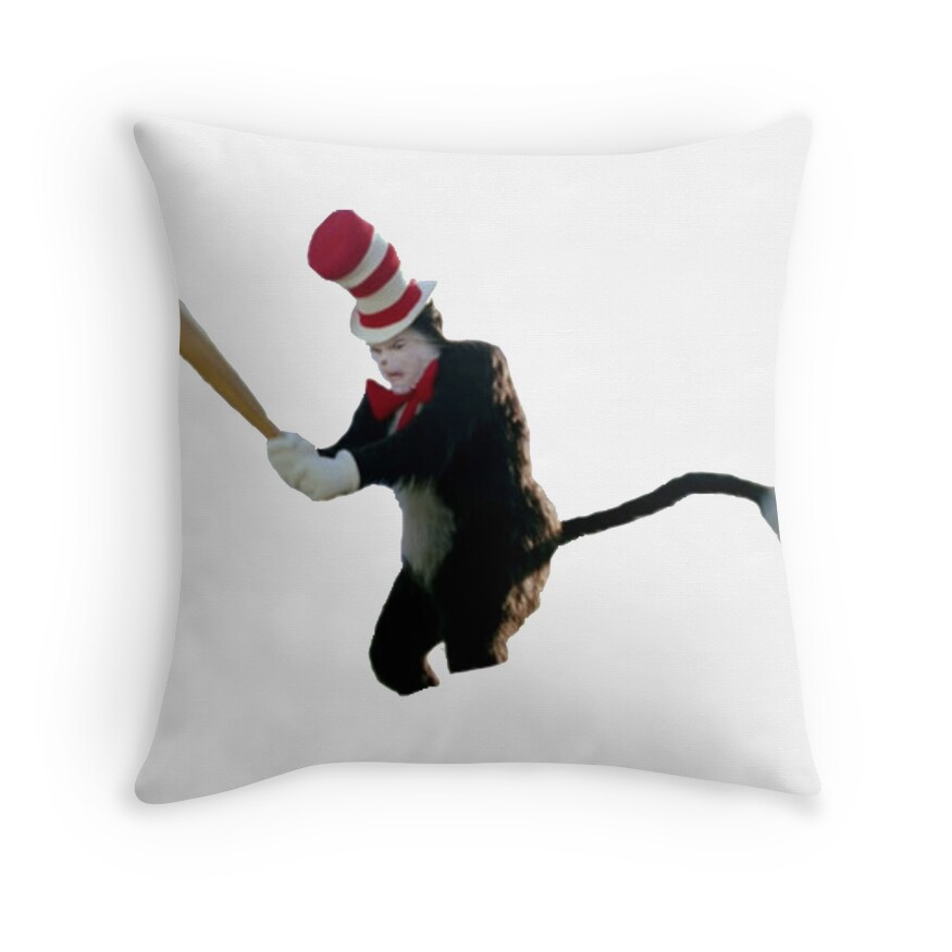 """""""Cat In The Hat Baseball Bat Meme"""" Throw Pillows by ben ..."""