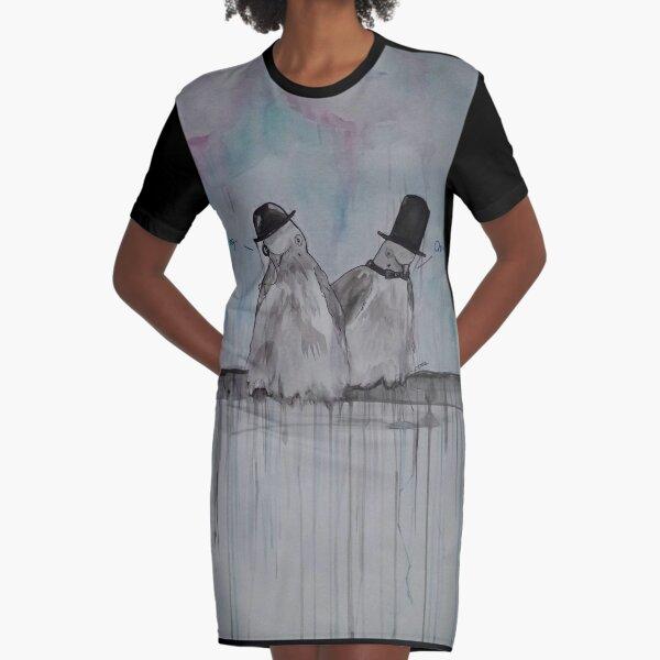 Dapper Doves Graphic T-Shirt Dress