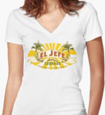 El Jefe Cubanos Food Truck Women's Fitted V-Neck T-Shirt