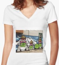 Phes and Jc Rivera Mural  Women's Fitted V-Neck T-Shirt
