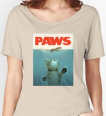 Paws Jaws Kitten And Mouse Vintage Poster Women's Relaxed Fit T-Shirt