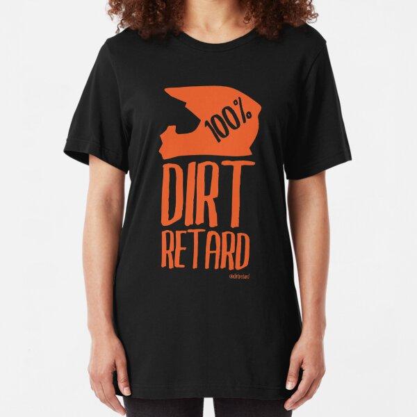Dirt Retard Dirt Bike Orange Slim Fit T-Shirt