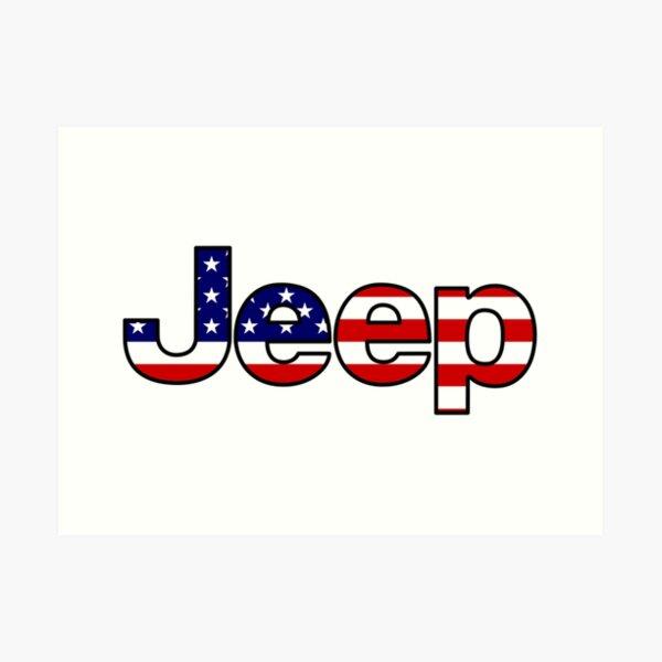 Jeep - American Flag Art Print