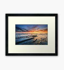 Beautiful ocean sunrise and coastal rocks Australia Framed Print