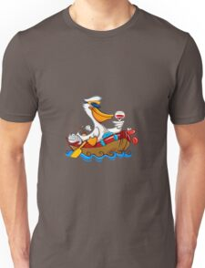 Cartoon pelican with captain's hat Unisex T-Shirt