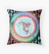 Flat Earth Designs - Flat Earth Map Azimuthal Equidistant Projection Map Design EXCELLENT Throw Pillow