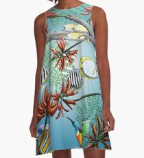 Fish, Feather & Flame Tree Flowers A-Line Dress