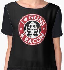 I Love GUNS AND BACON Shirt Funny Gun T-Shirt Women's Chiffon Top