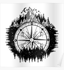 Mountain and compass Poster