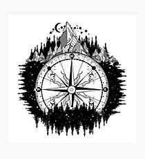 Mountain and compass Photographic Print