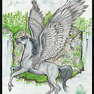 Unicorn Pegasus at the Waterfall by Stephanie Small