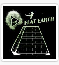 Flat Earth Designs - Flat Earth Jump Kicks the Top of the Illuminati Pyramid Sticker Sticker