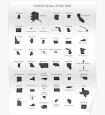 Federal states maps of the USA overview Poster