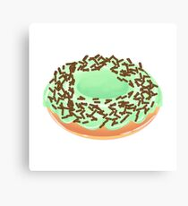 Mint Cream Donut with Chocolate Sprinkles Canvas Print