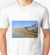 Buildings by the river in Pisa, Italy Unisex T-Shirt