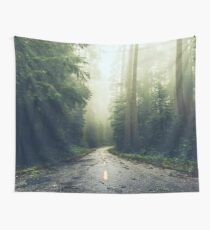 Green Forest Fog Road Wanderlust - California Redwoods Road Trip Wall Tapestry
