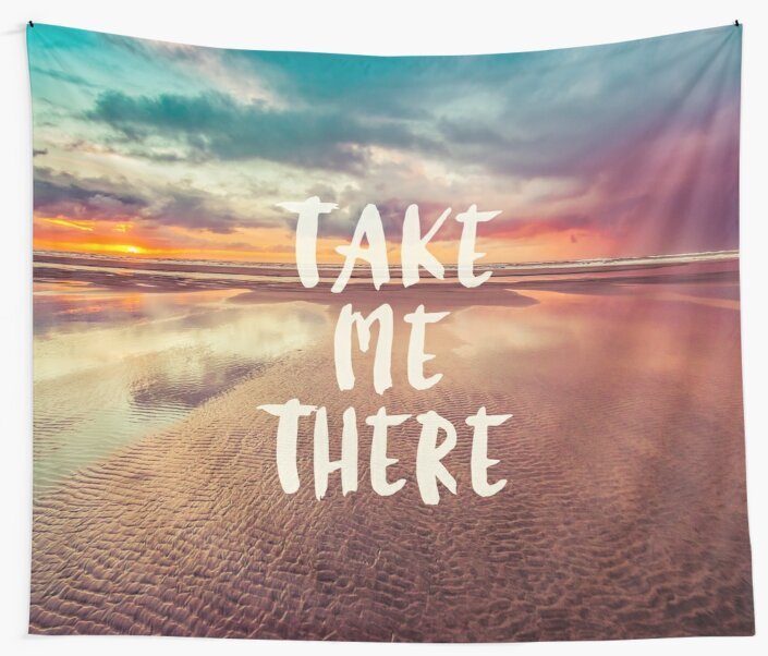 Ocean Sea Beach Water Clouds at Sunset - Take Me There Typography by artcascadia