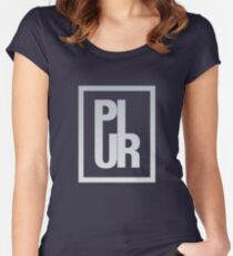 PLUR - Peace Love Unity Respect - Minimal Logo Women's Fitted Scoop T-Shirt