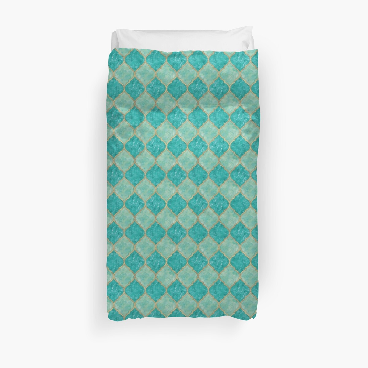 Moroccan Quatrefoil - Turquoise & Gold by mmmedia