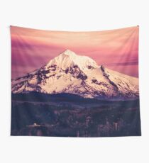 Mountains and Forest Water Sunset - Mt Hood Snow Mountain over Columbia River Mountains and Forest Water Sunset - Mt Hood Snow Mountain over Portland Oregon Wall Tapestry Pillow Wall Tapestry
