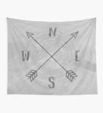 Map Compass - Forest Trees North East West South Compass Black and White Adventure Wall Tapestry