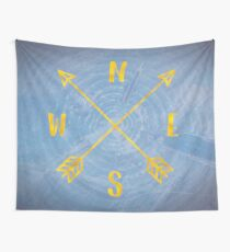 Blue Compass Map - Forest Trees North East West South Compass Adventure Blue and Gold Wall Tapestry